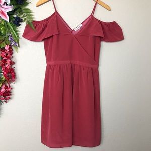 Madewell Dresses - NWT Madewell ruffle cold shoulder pink silk dress